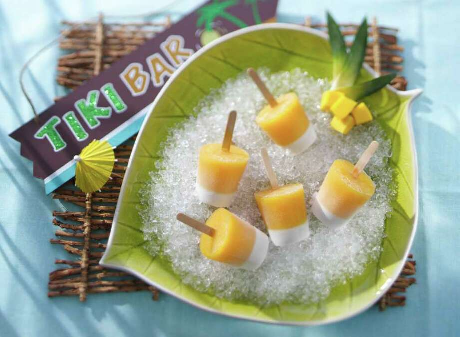 Mai Tai Tiki Pops are spiked with rum, turning a kids' treat into an adult dessert.