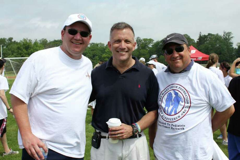 Adam Rochlin, Steve Czech and Gary Curto pose for a photo. Photo: Contributed Photo / New Canaan News