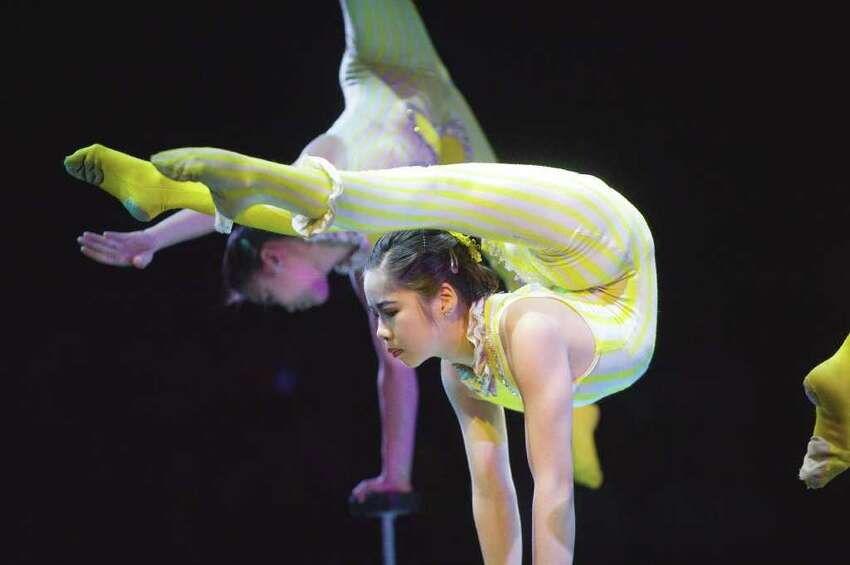 The X Bud Roses Troupe bring Mongolian contortion to the Big Apple Circus at Mill River Park in Stamford, Conn., June 12, 2011.