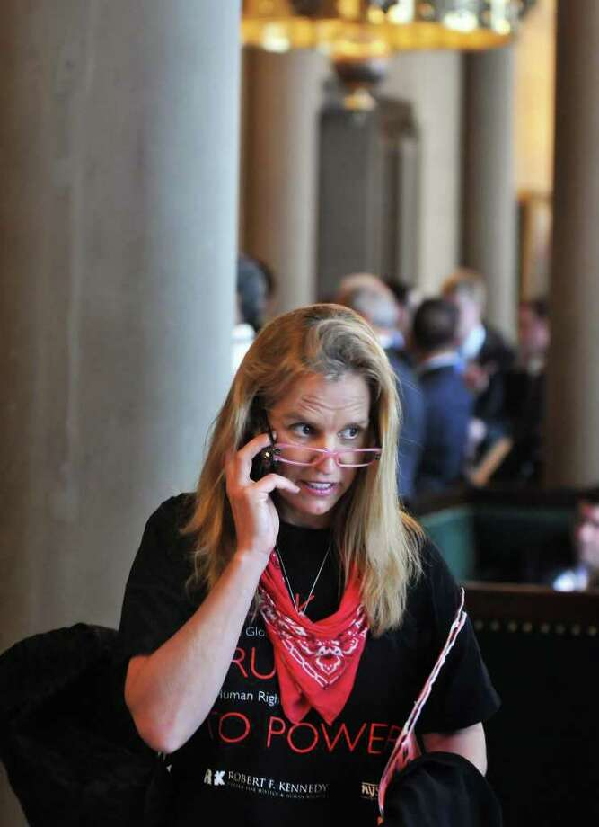 Kerry Kennedy in the Senate Parlor at the Captiol Tuesday June 14, 2011. After meeting in Albany to discuss farmworkers' working conditions and the need for the Farmworkers Fair Labor Practices Act, Kerry Kennedy, President of the Robert F. Kennedy Center for Human Rights, participated in a march to the Capitol.   (John Carl D'Annibale / Times Union) Photo: John Carl D'Annibale / 00013531A