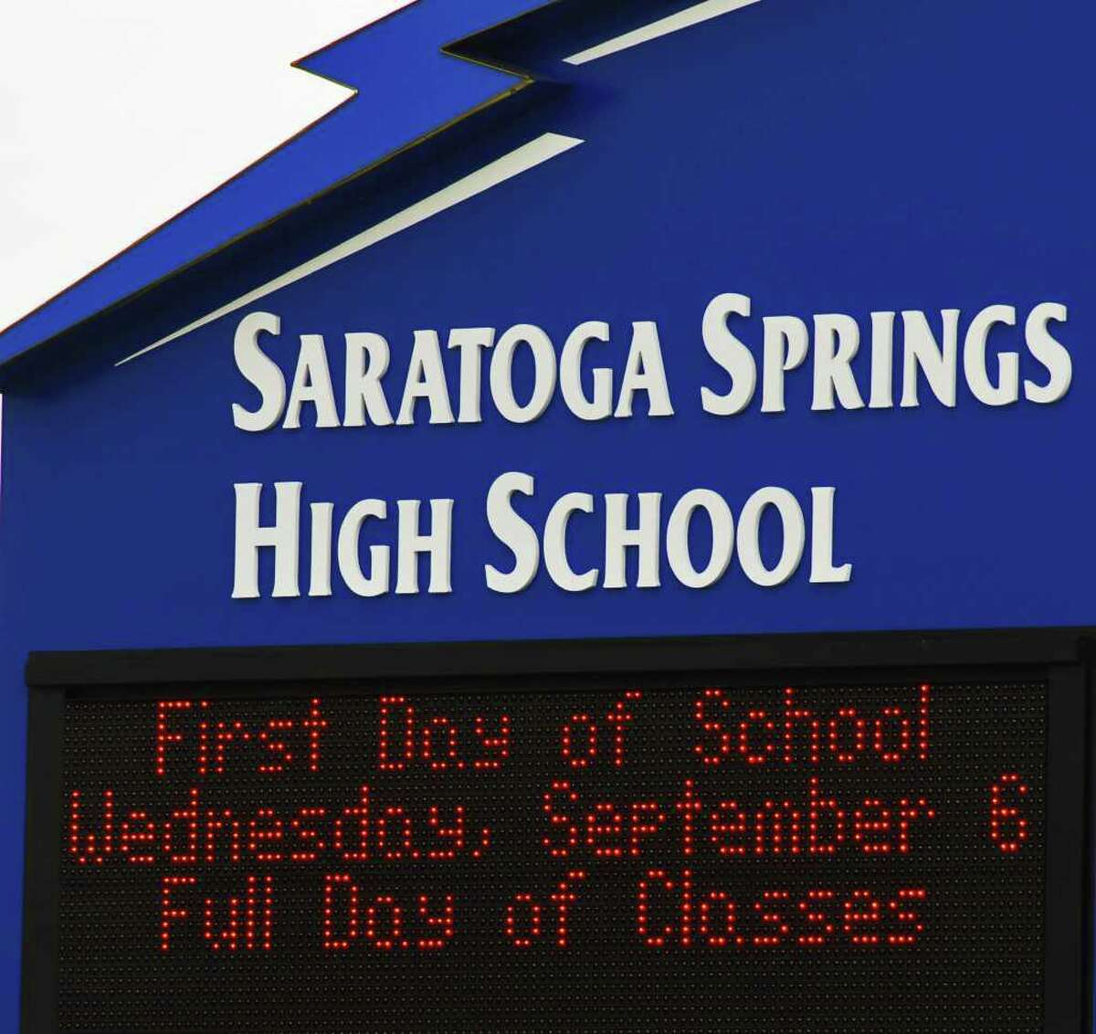 Saratoga Springs High School's sign. (John Carl D'Annibale / Times Union Archive)