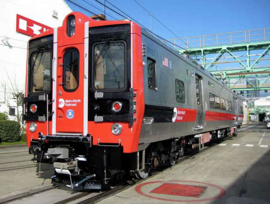 A few more New Haven Line riders got a surprise Tuesday morning when the latest six-car set of new M-8 cars went into service during morning rush hour. Photo: Contributed Photo / New Canaan News