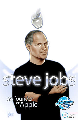 In this comic book cover released by Bluewater Productions Inc., Apple co-founder Steve Jobs is shown on the cover of the Bluewater Comics biography issue. Photo: HONS / Bluewater Productions Inc.
