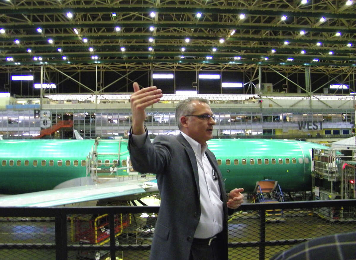 Erik Nelson, Boeing 737 manufacturing director, discusses production on Friday, June 3, 2011 in Boeing's 737 plant in Renton, Wash.