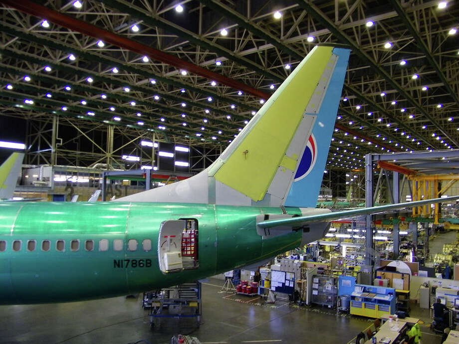 Boeing workers assemble a 737 for Korean Air on Friday, June 3, 2011 in Boeing's 737 plant in Renton, Wash. Photo: Aubrey Cohen/seattlepi.com
