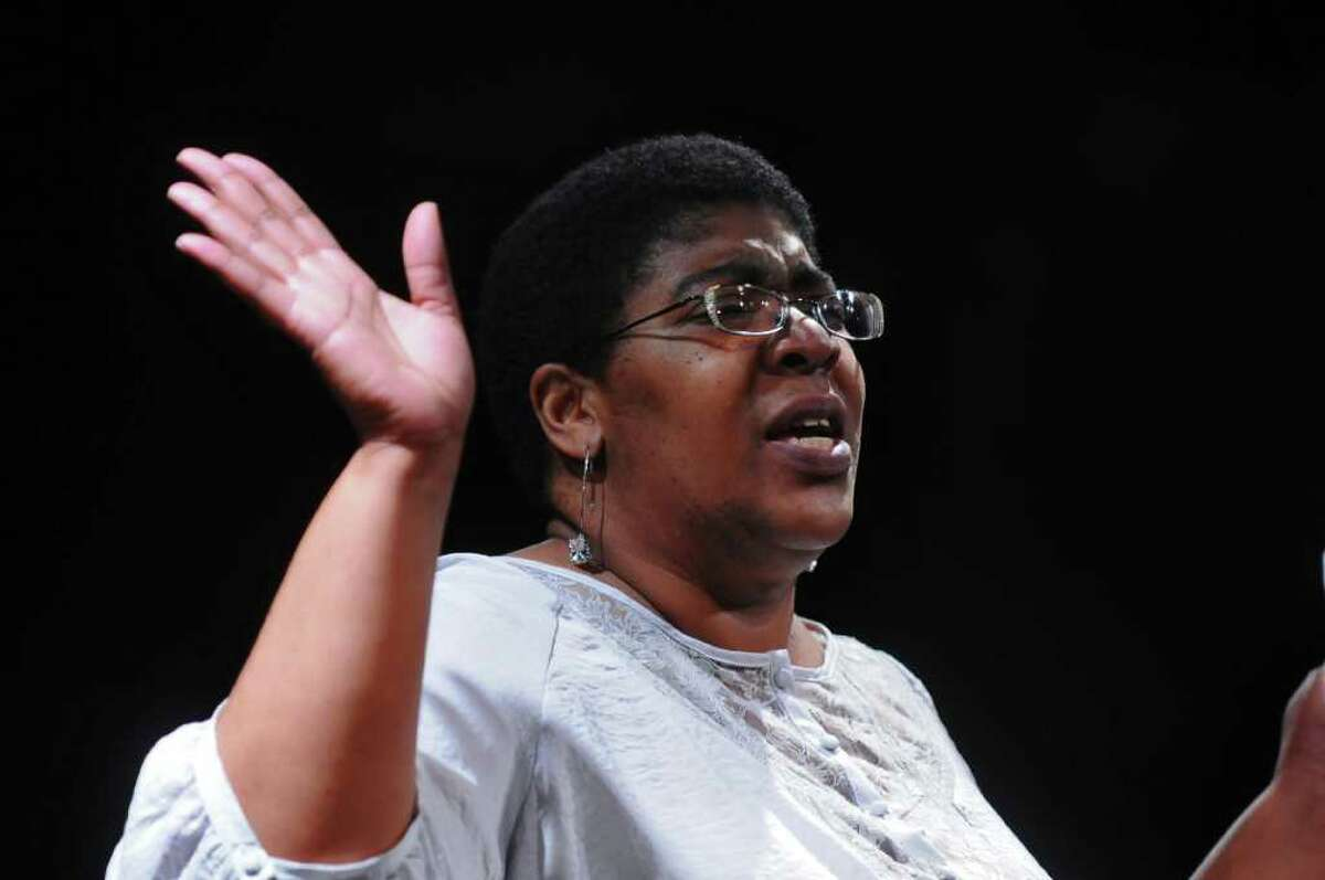 """Doreen Watson of Schenectady rehearses with the Soul Rebel Performance Troupe as they prepare for """"An Evening of Monologues,"""" on Monday June 13, 2011 at the Sand Lake Center for the Arts in Averill Park, NY. ( Philip Kamrass / Times Union)"""