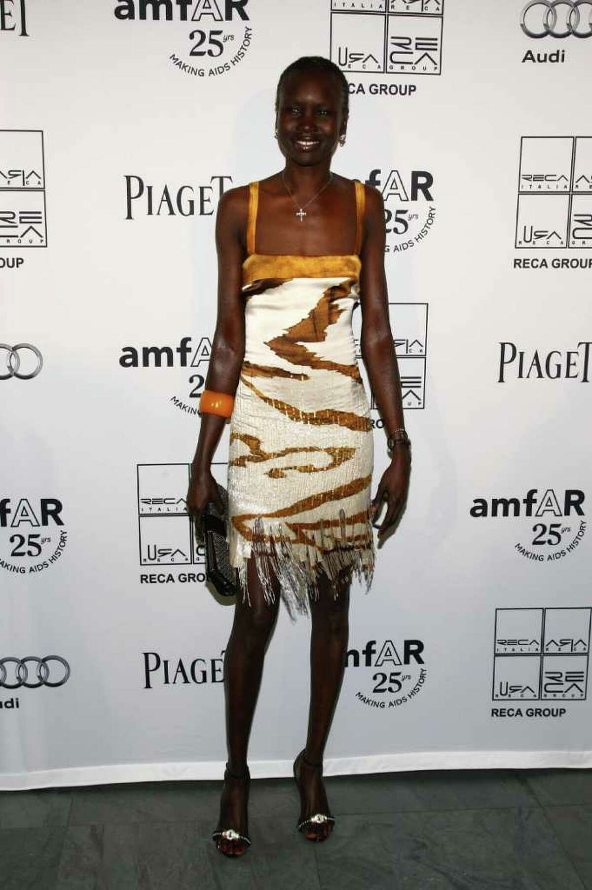 Model Alek Wek attends the 2nd Annual amfAR Inspiration Gala at The Museum of Modern Art on June 14, 2011 in New York City.