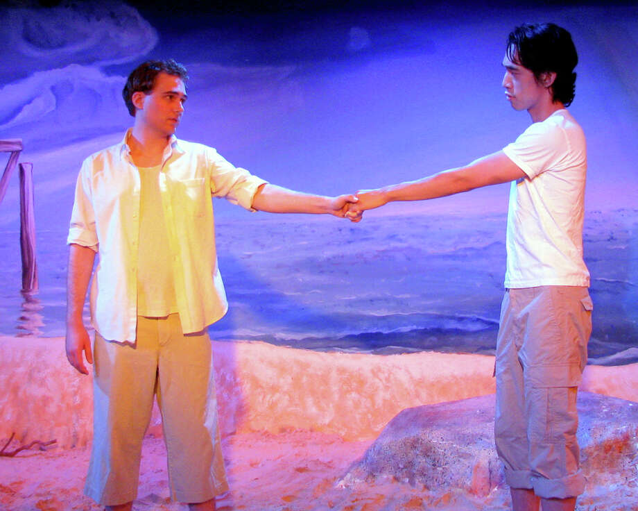 "Mrak McCarver (left) and Jonathan Itchon appear in the San Pedro Playhouse staging of ""Corpus Christi."" COURTESY SAN PEDRO PLAYHOUSE"