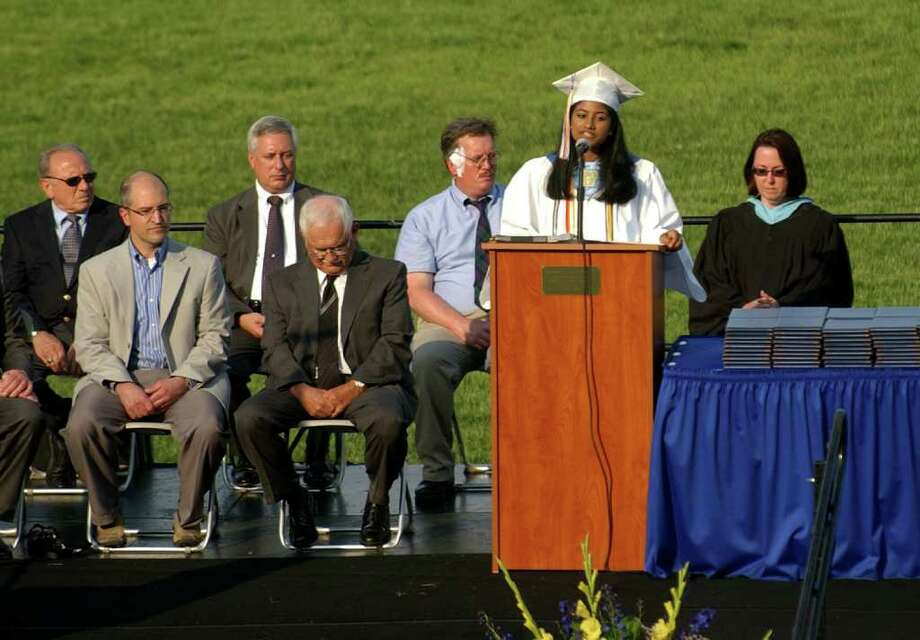 Highlights from Seymour High School's 124th Commencement in Seymour, Conn. on Wednesday June 15, 2011. Class Salutatorian Divya Shibu. Photo: Christian Abraham / Connecticut Post