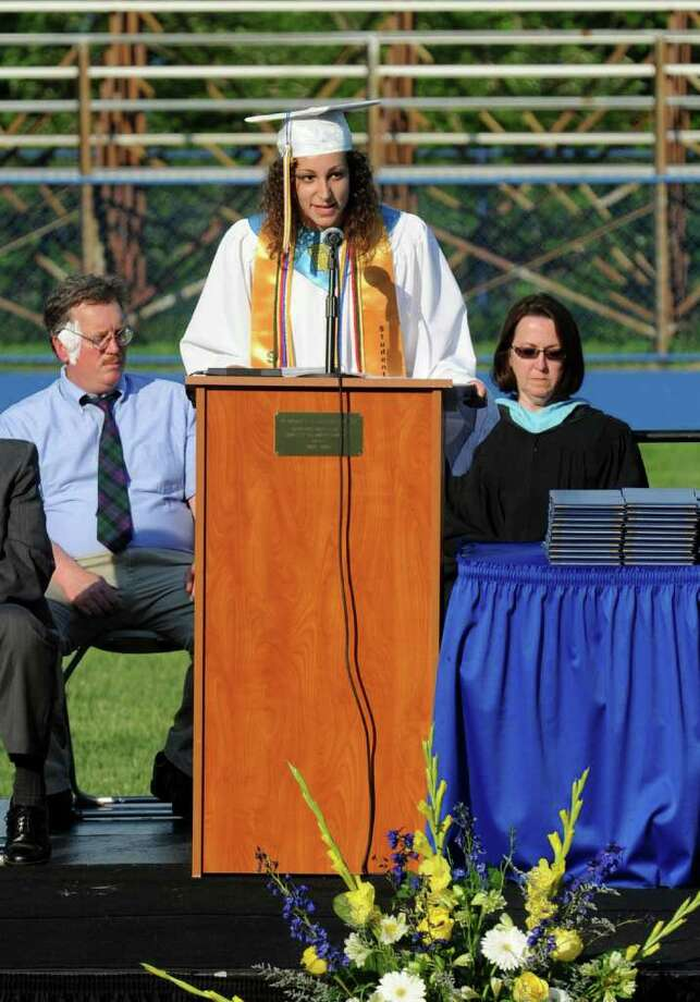 Highlights from Seymour High School's 124th Commencement in Seymour, Conn. on Wednesday June 15, 2011. Class Valedictorian Lauren Almonte. Photo: Christian Abraham / Connecticut Post
