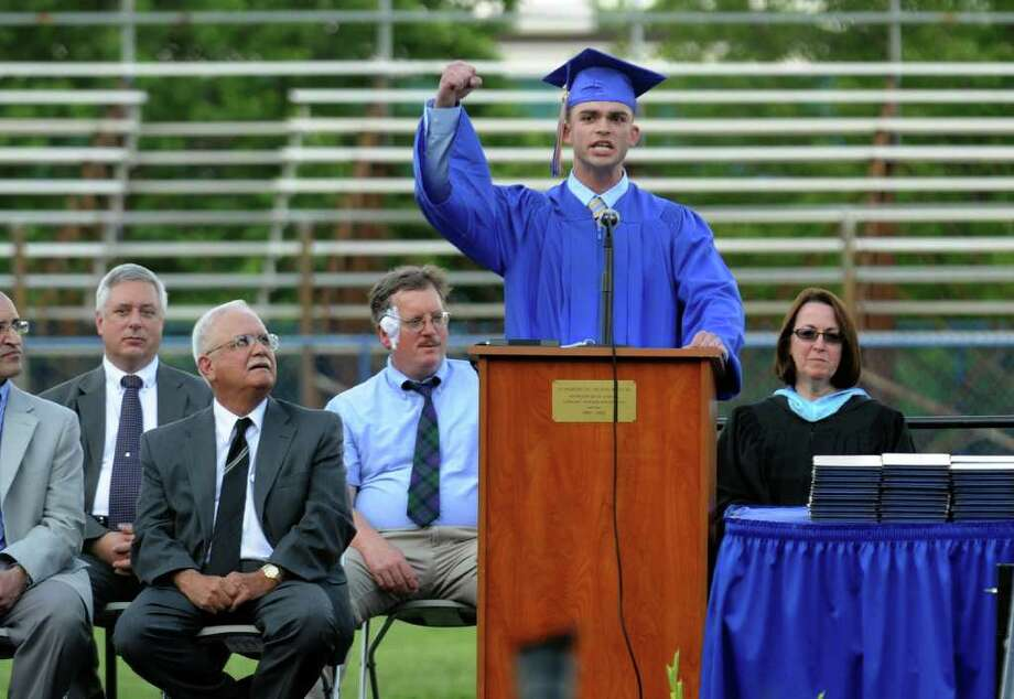 Highlights from Seymour High School's 124th Commencement in Seymour, Conn. on Wednesday June 15, 2011. Class Speaker Ken Petroski. Photo: Christian Abraham / Connecticut Post