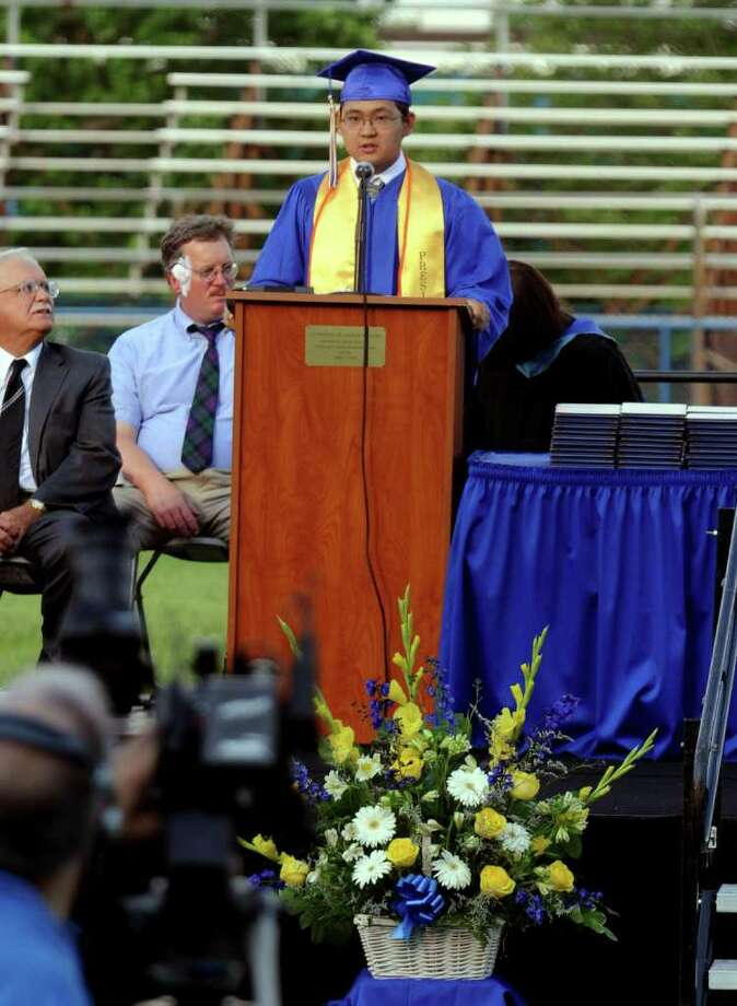 Highlights from Seymour High School's 124th Commencement in Seymour, Conn. on Wednesday June 15, 2011. Class President Jules Montojo. Photo: Christian Abraham / Connecticut Post