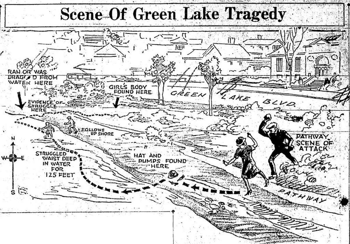 A 1926 P-I illustration of the Sylvia Gaines murder scene.
