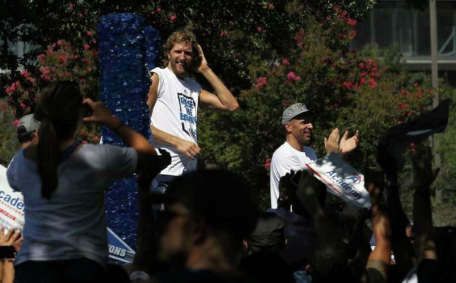 DALLAS, TX - JUNE 16:  Dirk Nowitzki and Jason Kidd celebrate during the Dallas Mavericks Victory Parade on June 16, 2011 in Dallas, Texas. Photo: Ronald Martinez, Getty Images / 2011 Getty Images