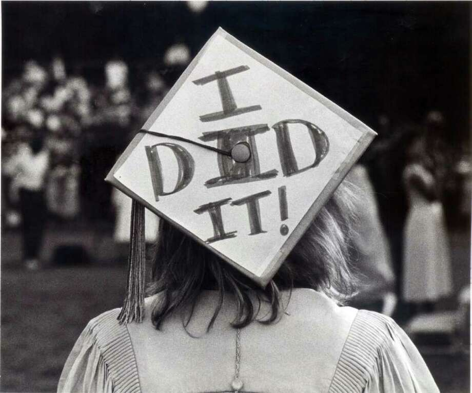 June 23, 1986: Amy Wilcox announces her accomplishment at Westhill Hig School's graduation. Photo: File Photo / Stamford Advocate File Photo