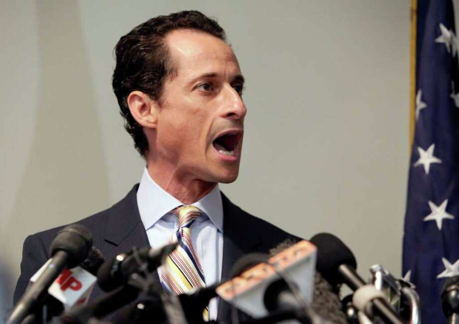 U.S. Rep. Anthony Weiner announces his resignation from Congress, in the Brooklyn borough of New York,  Thursday, June 16, 2011.   Weiner resigned from Congress, saying he cannot continue in office amid the intense controversy surrounding sexually explicit messages he sent online to several women. Photo: Richard Drew, AP / AP