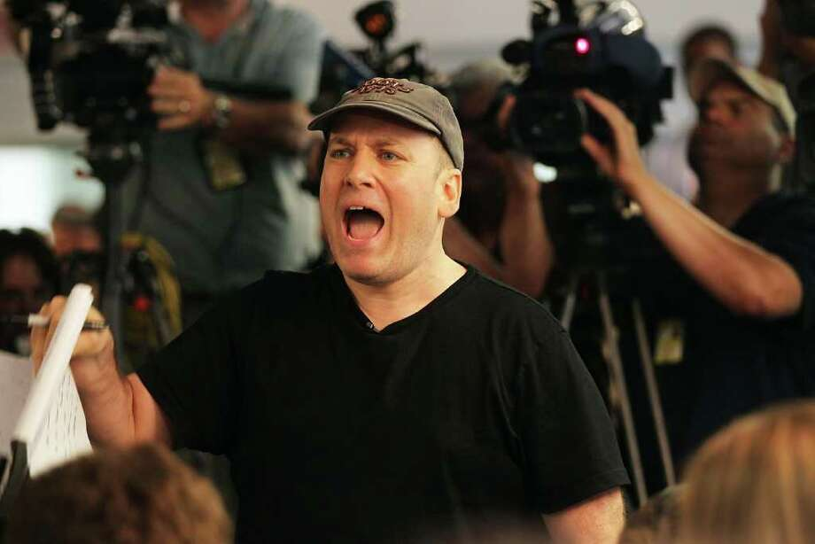 "NEW YORK, NY - JUNE 16: Benjy Bronk, a writer for ""The Howard Stern Show"", yells at Rep. Anthony Weiner (D-NY) as he announces his resignation June 16, 2011 in the Brooklyn borough of New York City. The resignation comes 10 days after the congressman admitted to sending lewd photos of himself on Twitter to multiple women. Photo: Spencer Platt, Getty Images / 2011 Getty Images"