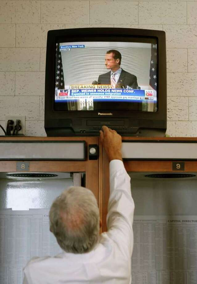 WASHINGTON, DC - JUNE 16:  A television's volume is turned up in the House of Representatives Press Gallery on the third floor of the U.S. Capitol as former Rep. Anthony Weiner (D-NY) announces his resignation from Congress June 16, 2011 in Washington. Weiner resigned after a scandal erupted over lewd messages and photographs he sent to several women over Twitter. Photo: Chip Somodevilla, Getty Images / 2011 Getty Images