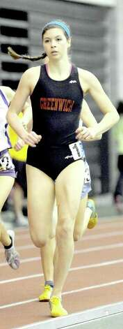 "Greenwich High grad Kiki Kates will be doing her running for Colgate University come September. ""My main events will be the 800-meter and the mile,"" she says. Photo: Christian Abraham, ST / Connecticut Post"