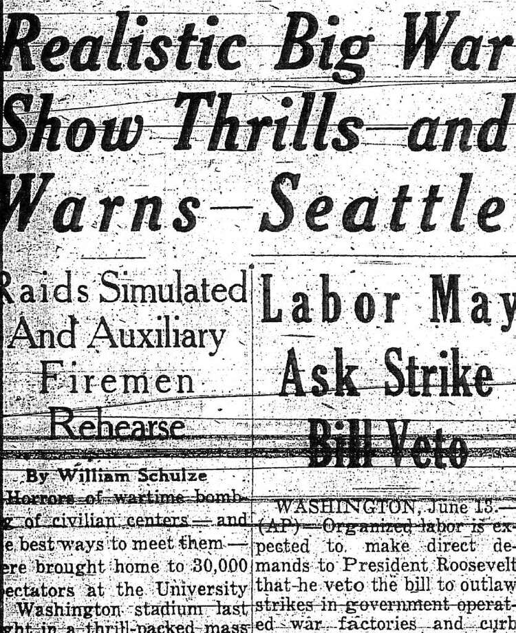 Seattle P-I coverage of the June 13, 1943 civil defense drill at the University of Washington Stadium. Photo: Seattlepi.com File