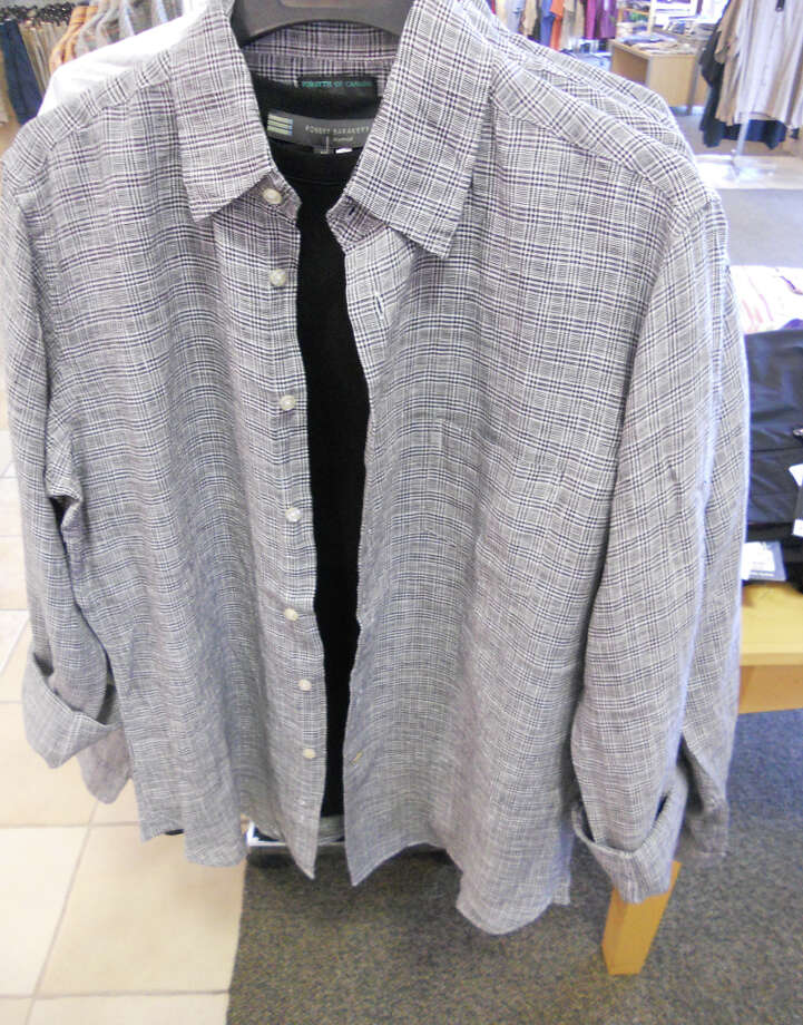 126 W. Rector, Suite 132: Dad will look cool in this Robert Barakett Black T-shirt, $55, under a linen Forsyth of Canada shirt, $95, both available at Joseph's.