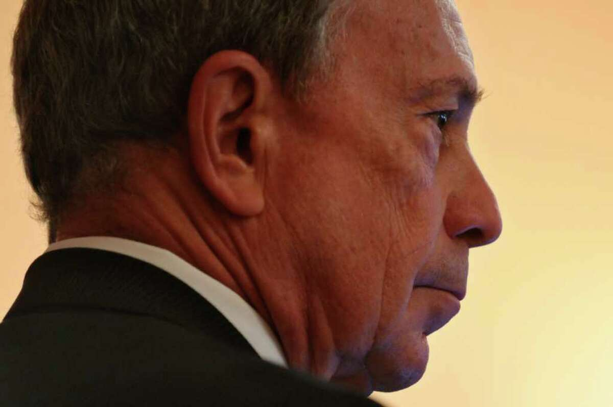 New York City Mayor Michael Bloomberg talks to the media about his discussions with State Senators about the possible vote on gay marriage, at the Capitol on Thursday June 16, 2011 in Albany, NY. ( Philip Kamrass / Times Union)