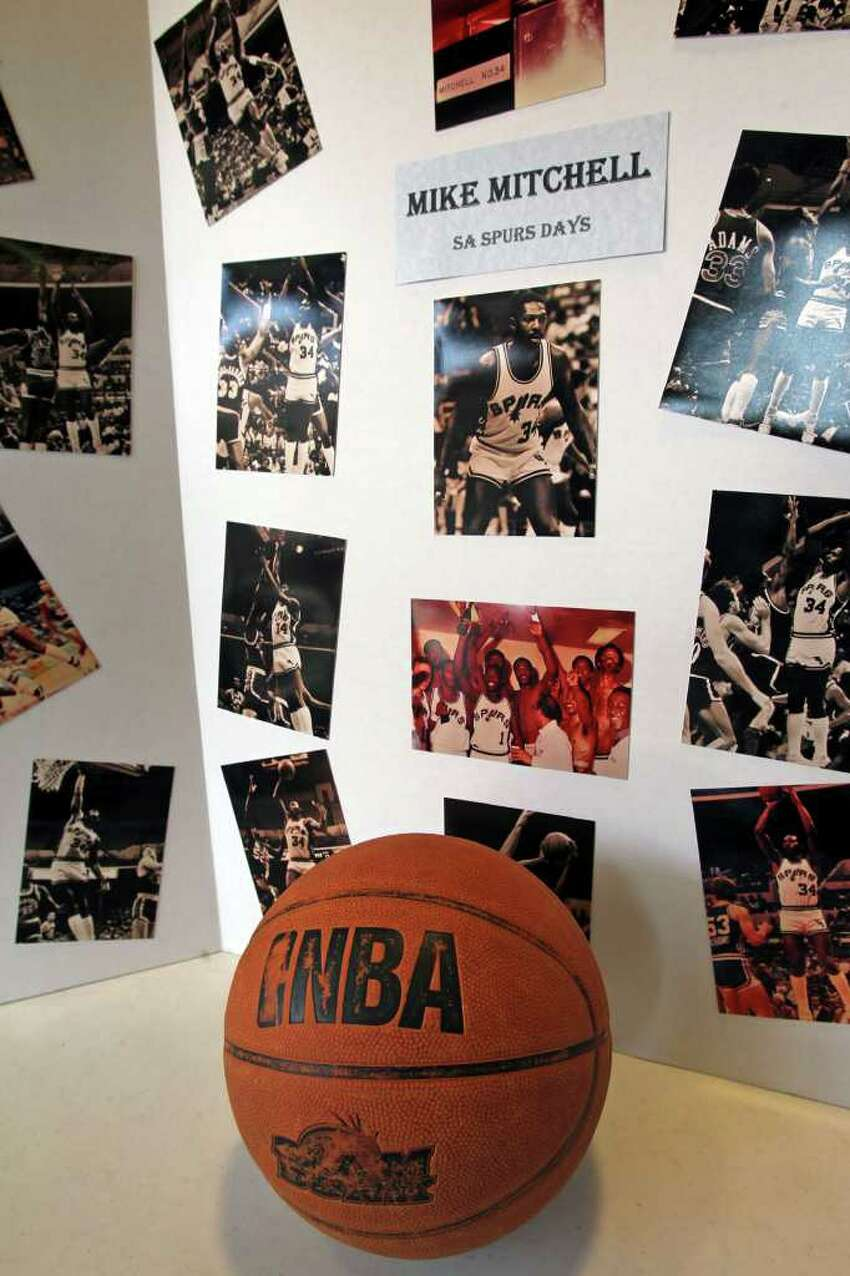 An NBA tribute is displayed in the lobby at the memorial service for Spurs great Mike Mitchell at the Antioch Sports Center on June 16, 2011. Tom Reel/Staff
