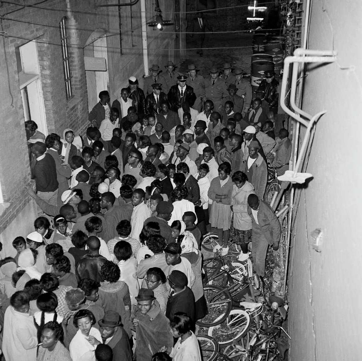 Over 200 blacks are shown as they were arrested in Albany, Ga. after staging a demonstration in front of City Hall protesting against the trial of Freedom Riders arrested here earlier, Dec. 13, 1961. Nearly 500 have been arrested this week. (AP Photo/Horace Cort)