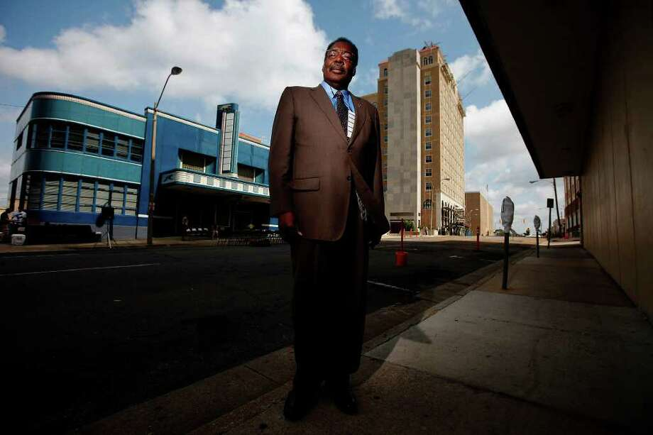 Hank Thomas stands near the former Greyhound bus station where he and other Freedom Riders attempted to desegregate the bus terminals in the South and were imprisoned for their cause in Jackson, Miss. Thomas and other Freedom Riders returned to Jackson for their 50th reunion. Photo: KIN MAN HUI, Kin Man Hui/kmhui@express-news.net / kmhui@express-news.net