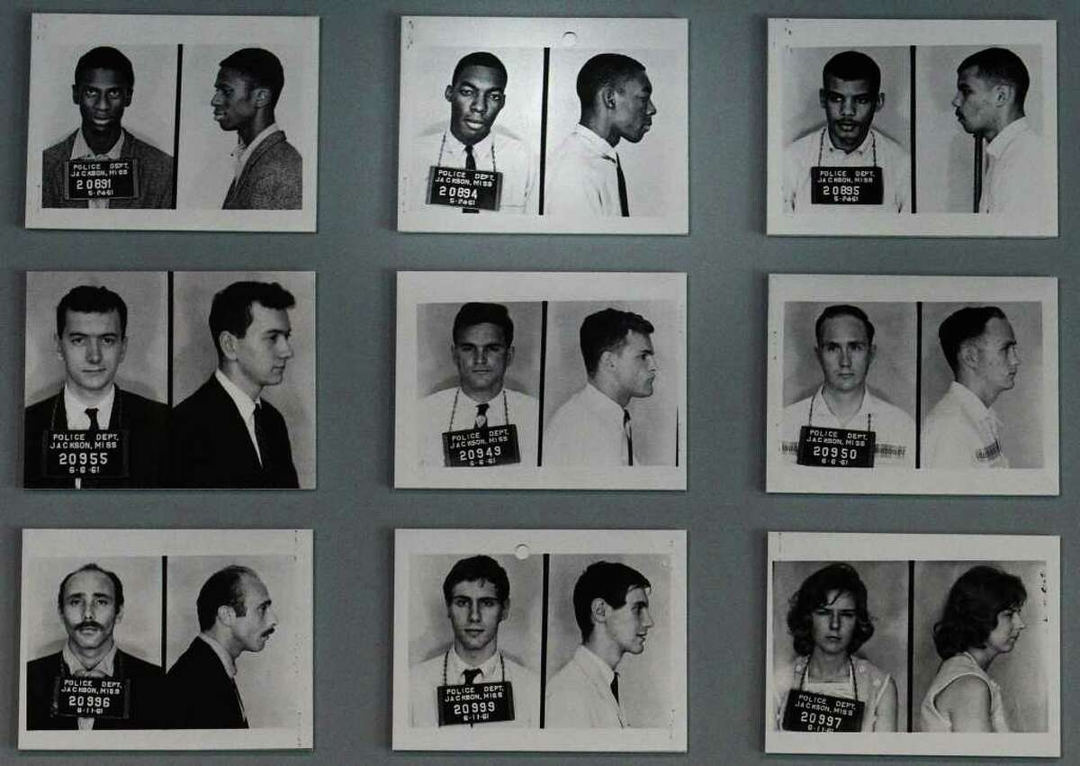 Freedom Riders 50th reunion in Jackson, Miss., on May 26, 2011. The image of Hank Thomas' police booking photo (top center) is shown with fellow Freedom Riders on display at the Mississippi Museum of Art in Jackson.