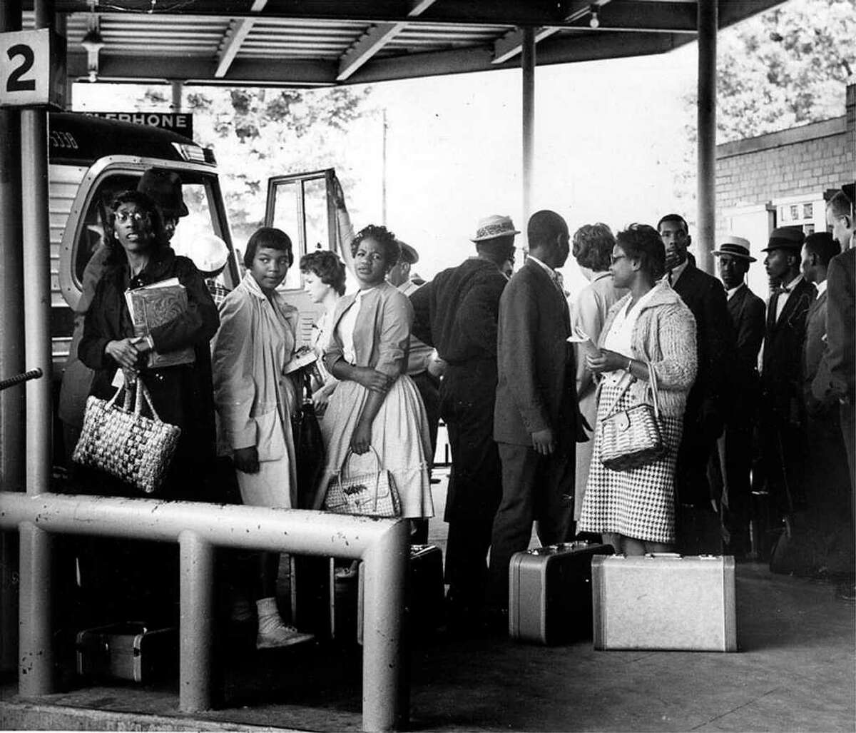 Freedom Riders are photographed at the bus station, in downtown Montgomery, Ala., in this 1961, file photo. The bus station, a civil rights era landmark, is sitting in disrepair in 2004 waiting for funding to become a museum.