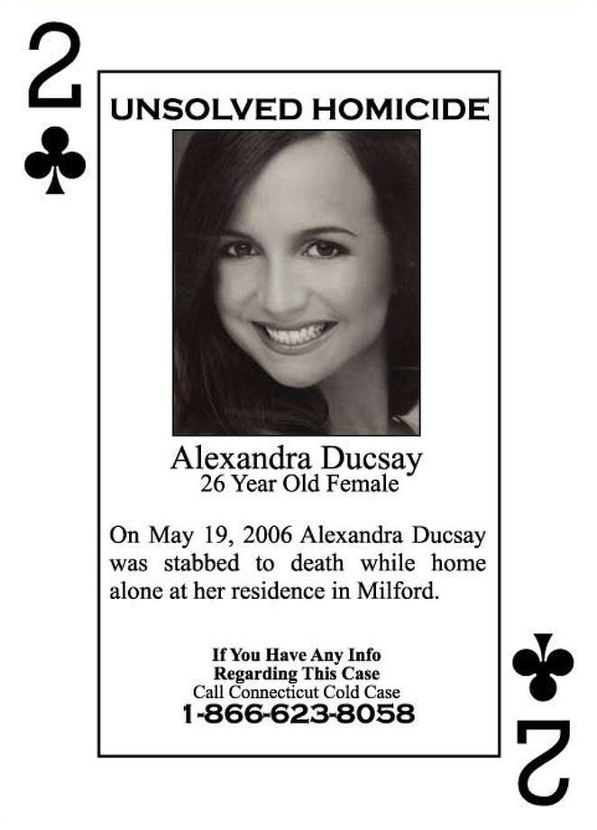 Alexandra Ducsay's photo is on the two of clubs, in a deck of playing cards depicting victims of unsolved murders. The cards are distributed to inmates in the state's prisons in the hope that they will generate tips or leads. Ducsay was murdered in her Devon home five years ago Photo: Contributed Photo / Connecticut Post Contributed