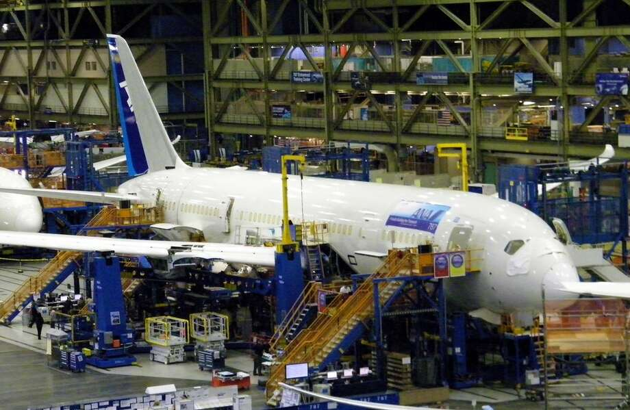 A Boeing 787 Dreamliner for All Nippon Airways is seen in production on Thursday, June 2, 2011 in Boeing's wide-body plant in Everett, Wash. Photo: Picasa, Aubrey Cohen/seattlepi.com