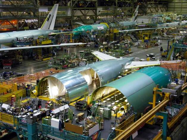 Boeing 777 production is seen on Thursday, June 2, 2011 in Boeing's wide-body plant in Everett, Wash. Photo: Picasa, Aubrey Cohen/seattlepi.com