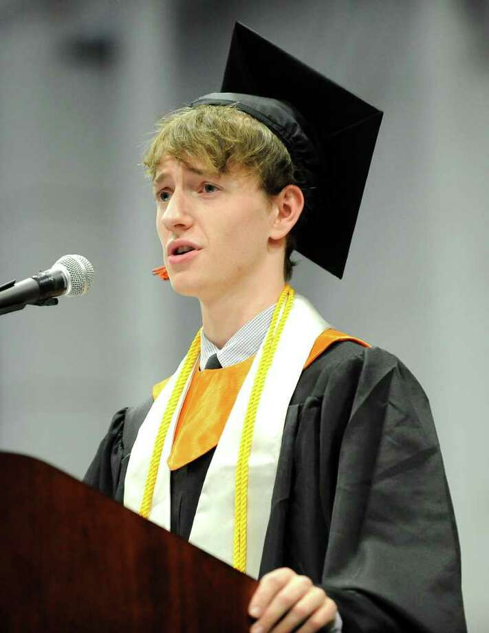 Class Valedictorian Patrick Ford-Matz speaks during Ridgefield High School graduation ceremonies at WestConn's O'Neill Center in Danbury. June 17, 2011. Photo: James Burns III / The News-Times Freelance
