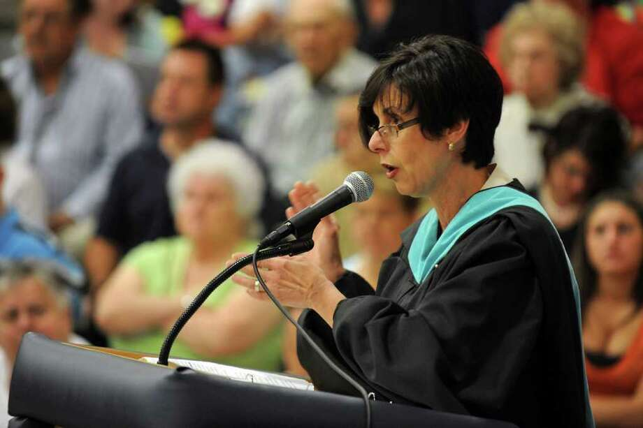 Highlights from Ansonia High School's Commencement Exercises in Ansonia, Conn. on Thursday June 17, 2011. Carol Merlone, Superintendent of Schools, gives remarks during graduation. Photo: Christian Abraham / Connecticut Post