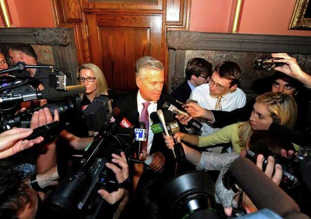 Senate Majority Leader Dean Skelos meets the media outside the Governors chambers after a brief meeting with Governor Cuomo in the State Capitol in Albany, N.Y. June 17, 2011.  (Skip Dickstein / Times Union) Photo: SKIP DICKSTEIN / 2011