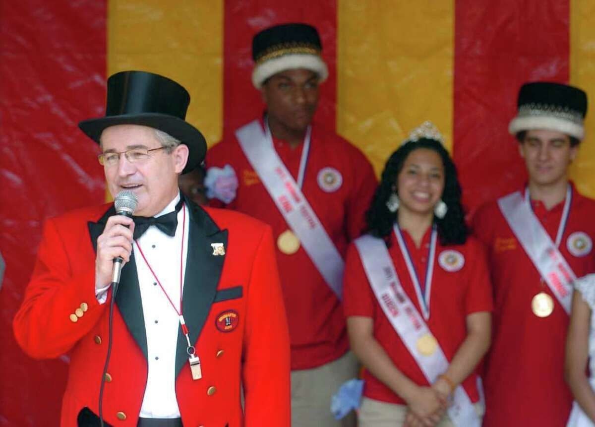 2011 ringmaster Armando Goncalves speaks during the annual Barnum Festival Wing Ding parade at the Beardsley Zoo in Bridgeport, Conn. Saturday, June 18, 2011.