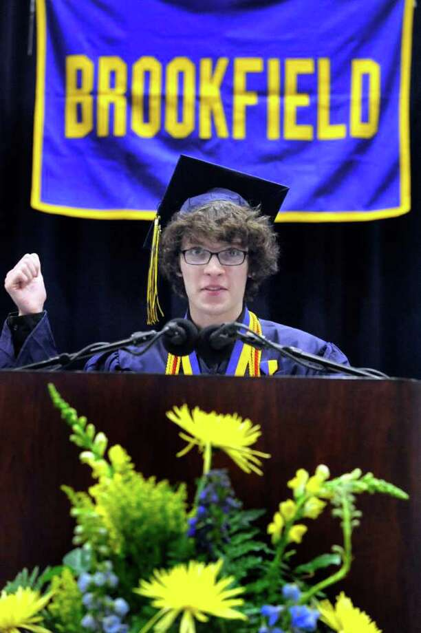 Matthew Goodrich, valedictorian, speaks at Brookfield High School's graduation held at Western Connecticut State University's O'Neill Center in Danbury, Saturday, June 18, 2011. Photo: Michael Duffy / The News-Times