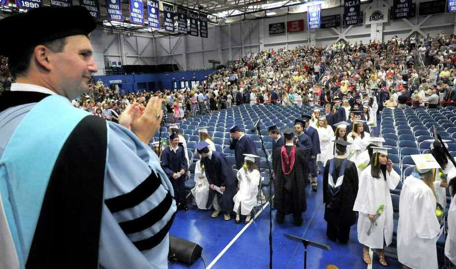 Principal Bryan Luizzi watches the processional at Brookfield High School's graduation held at Western Connecticut State University's O'Neill Center in Danbury, Saturday, June 18, 2011. Photo: Michael Duffy / The News-Times