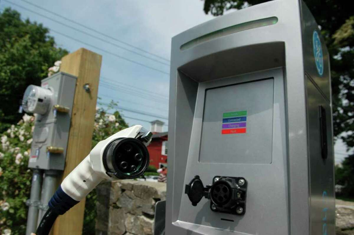 The Sherman Green on the corner of the Post Rd. and Reef Rd. in Fairfield, Conn. has an electric vehicle charger in one of the parking spots.