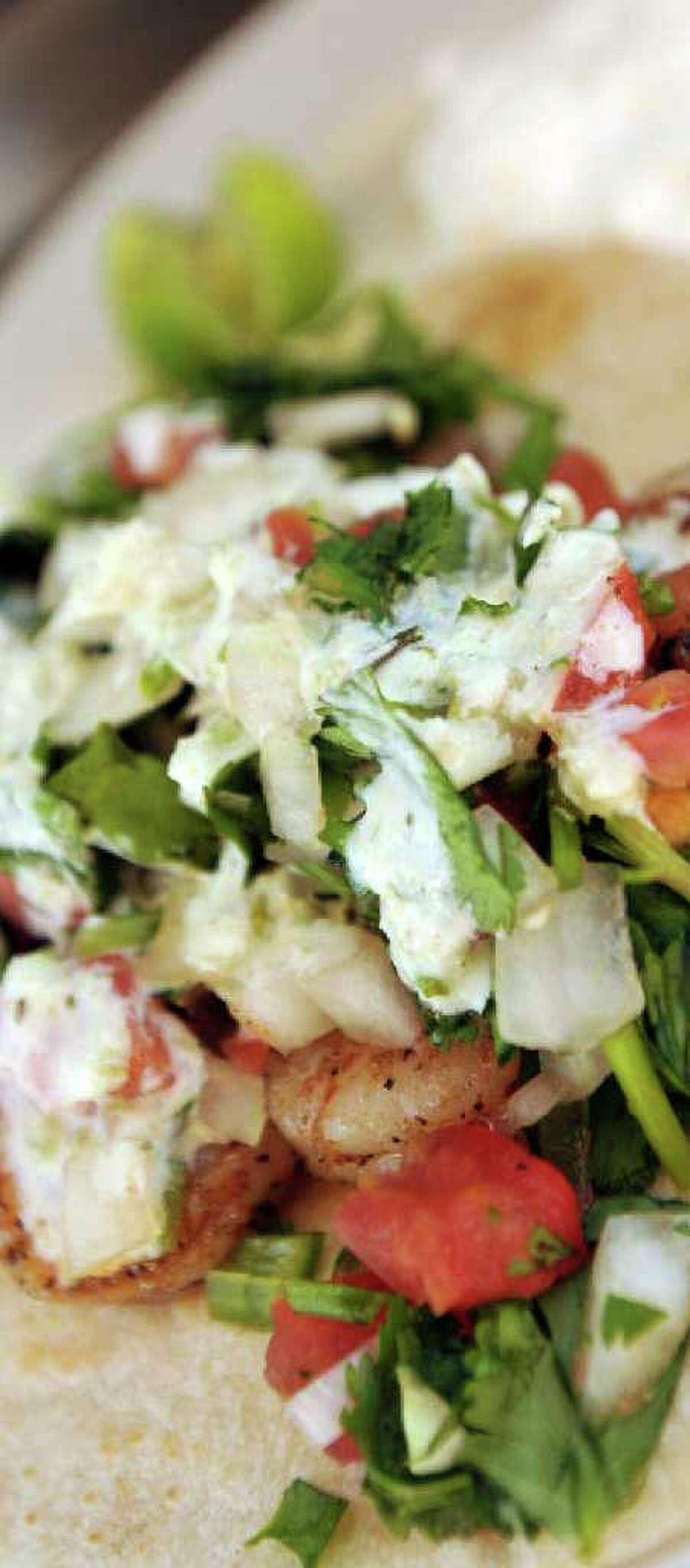 Shrimp tacos are a favorite from Chela's Tacos.