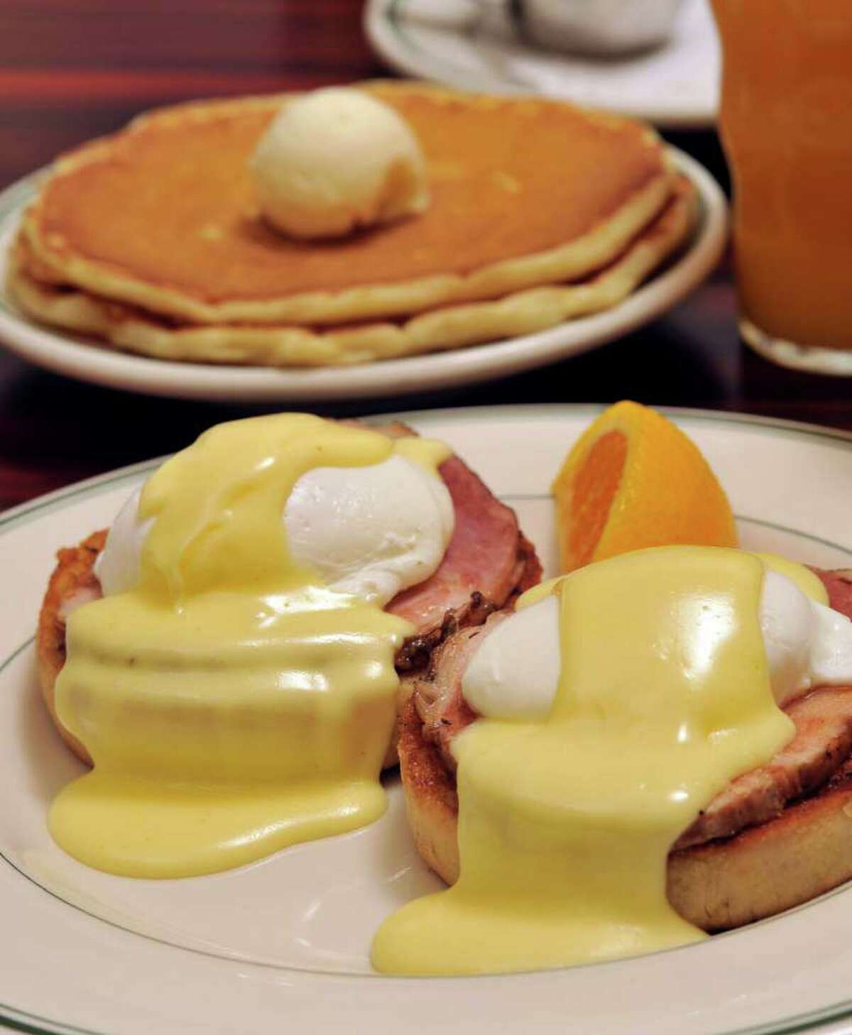 Magnolia Pancake Haus offers Eggs Benedict. The restaurant is Readers' Choice for best breakfast and best brunch.