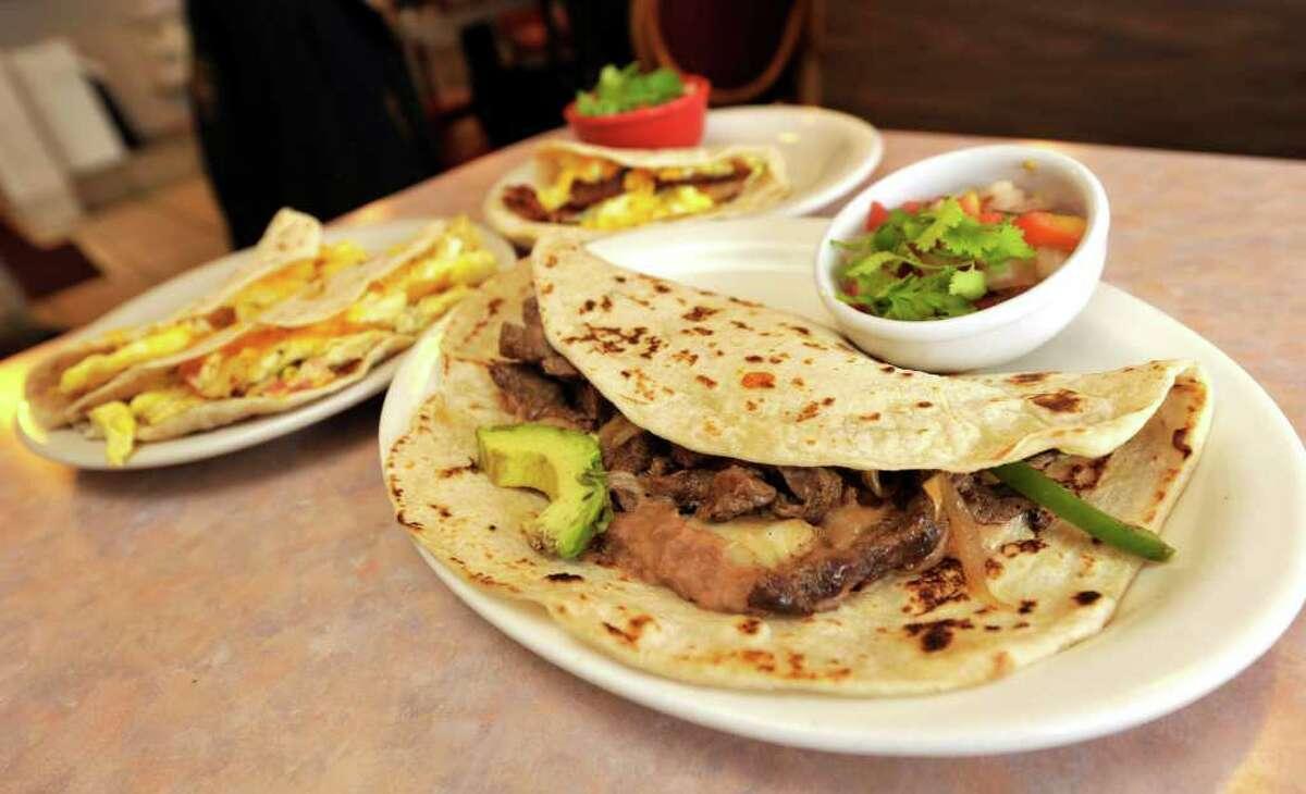 Breakfast tacos from Taco Taco Café, 145 E. Hildebrand Ave.