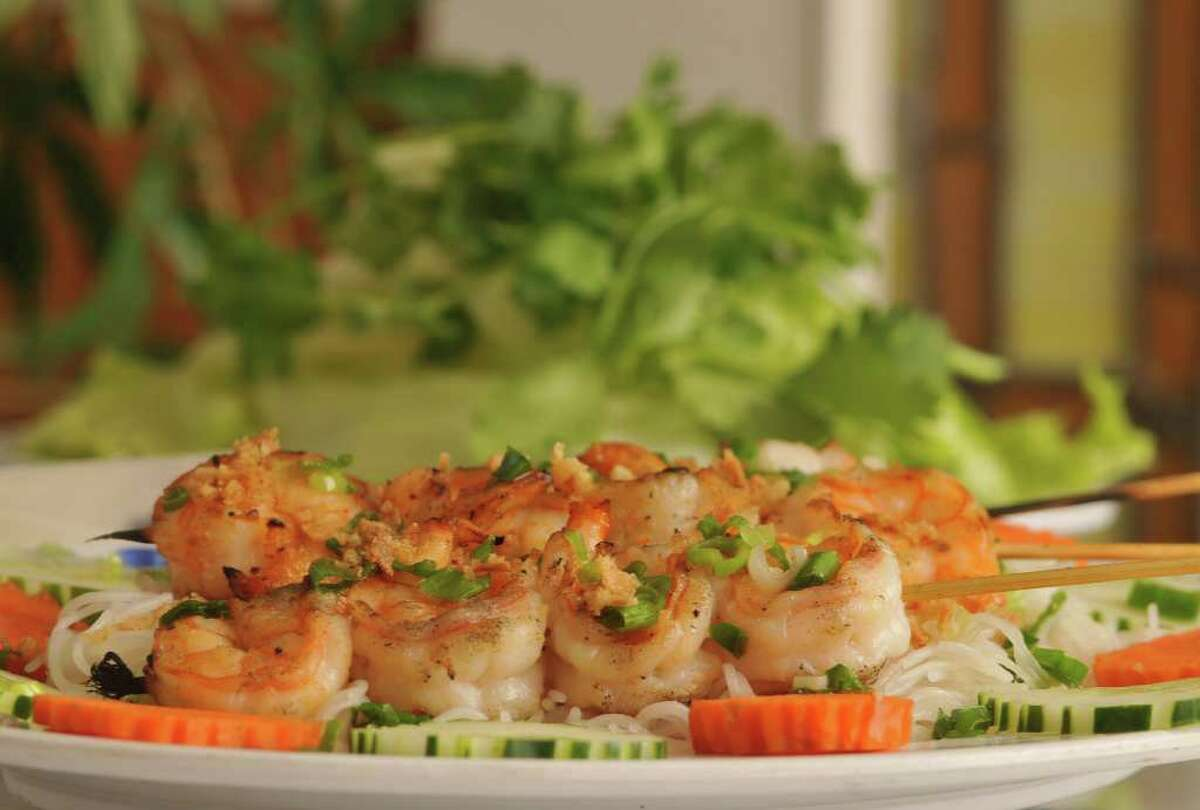 Tom Nuong (grilled shrimp) from Viet-Nam Restaurant's menu.