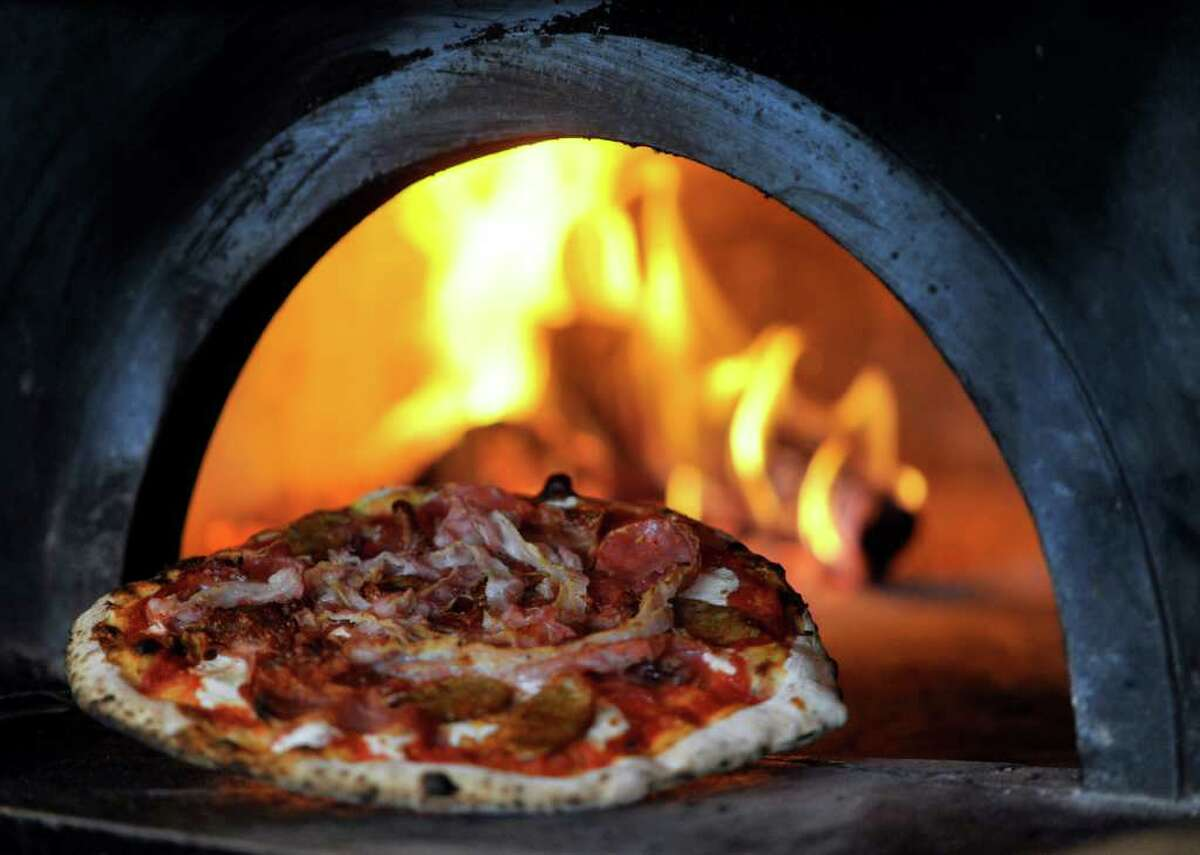 A wood-fired oven is one of the key elements to Dough's delicious pizzas.