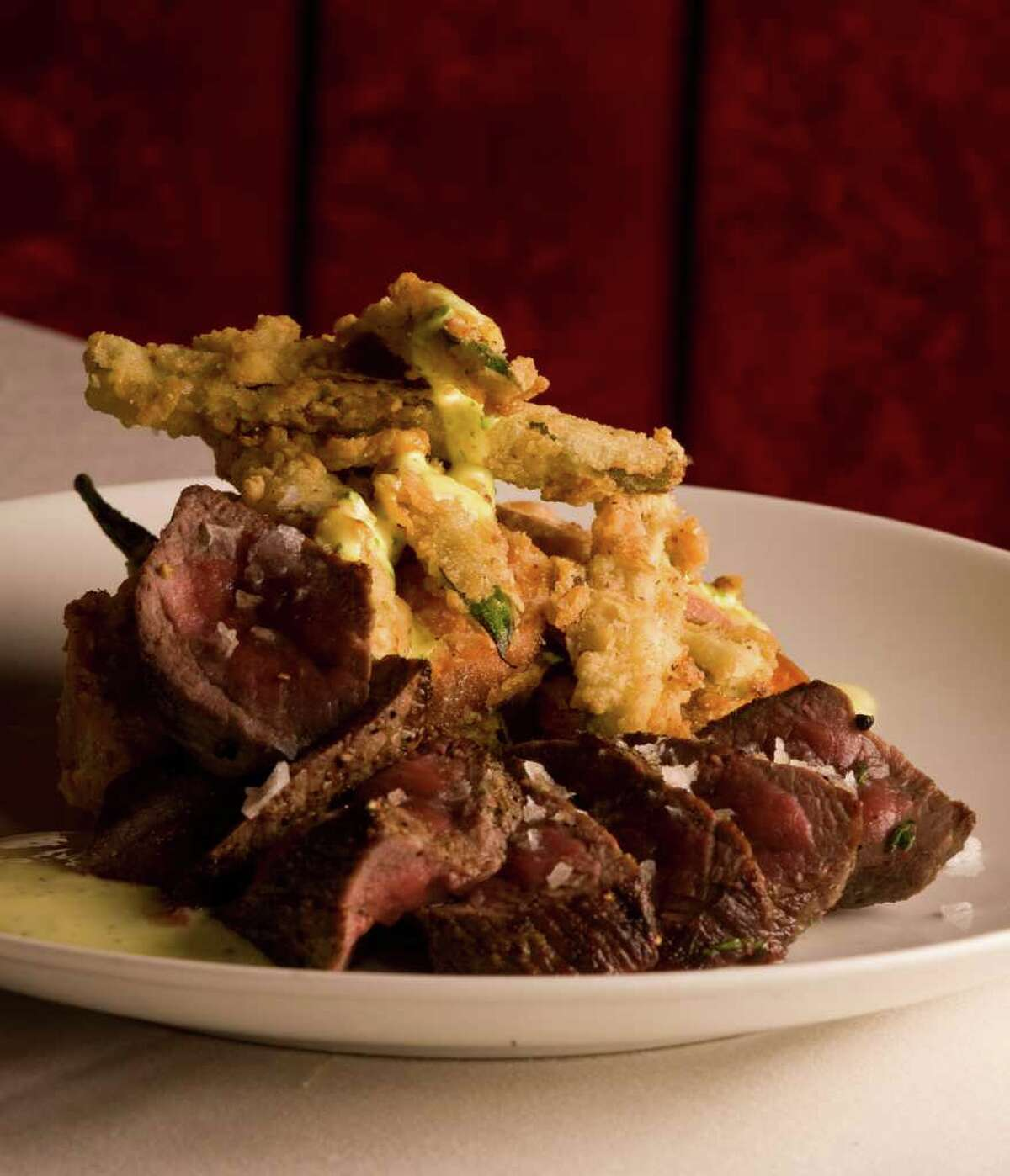 Venison with fried okra and Béarnaise sauce from Coco Chocolate Lounge & Bistro.