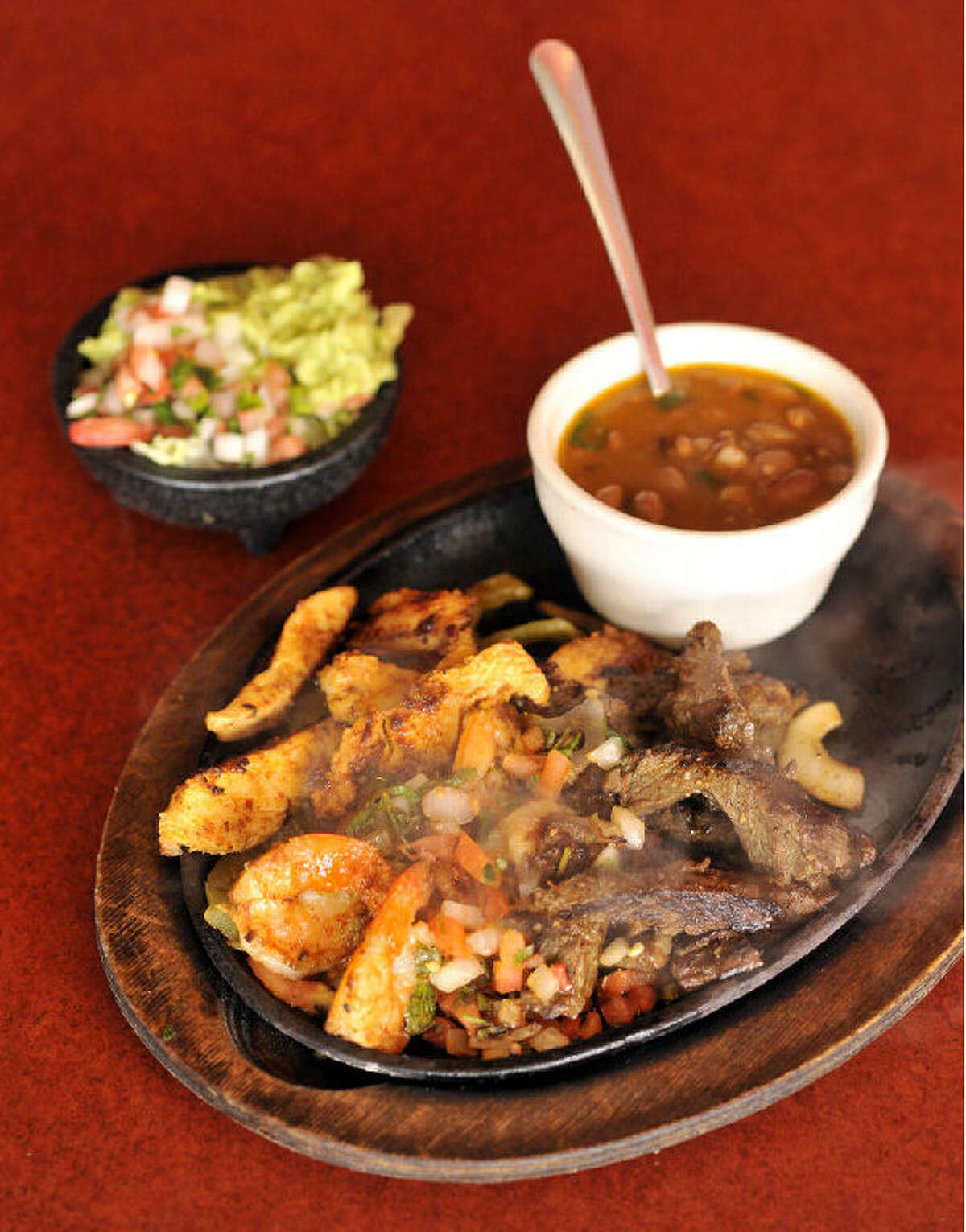 The savory Fiesta Special at Rosario's includes grilled shrimp and either beef or chicken fajitas.