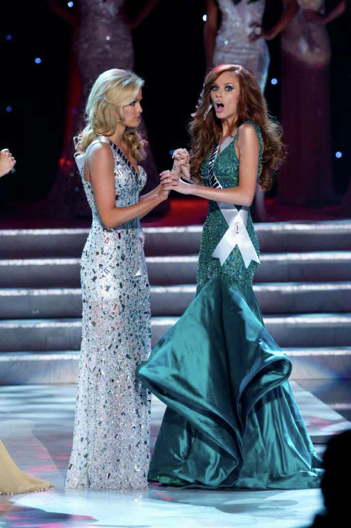 Miss Tennessee USA 2011, Ashley Durham is first runner up as Miss California USA 2011, Alyssa Campanella, is the winner of the 2011 MISS USA® Competition. She celebrates on stage after the crowning, which was broadcast LIVE on NBC from the Planet Hollywood Resort & Casino Theatre for the Performing Arts, in Las Vegas, Nevada on Sunday, June 19, 2011. The winner will compete in the 2011 MISS UNIVERSE® Pageant in Sao Paulo, Brazil on September 12.