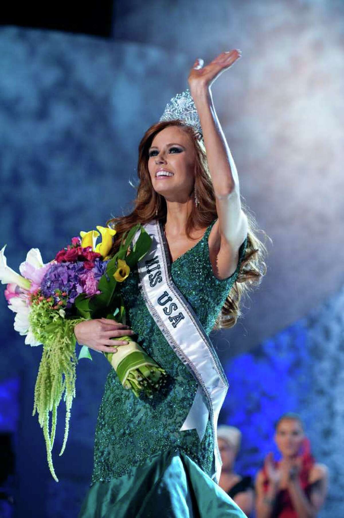 Miss California USA 2011, Alyssa Campanella, is the winner of the 2011 MISS USA® Competition. She celebrates on stage after the crowning, which was broadcast LIVE on NBC from the Planet Hollywood Resort & Casino Theatre for the Performing Arts, in Las Vegas, Nevada on Sunday, June 19, 2011. The winner will compete in the 2011 MISS UNIVERSE® Pageant in Sao Paulo, Brazil on September 12.